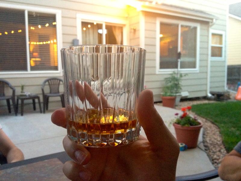 Glass of Blanton's bourbon whiskey
