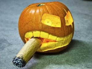 Pumpkin smoking a cigar