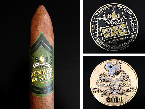 601 La Bomba Bunker Buster cigar and coin