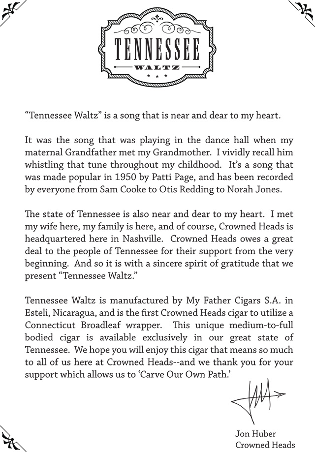 Crowned Heads Tennessee Waltz cigar press release