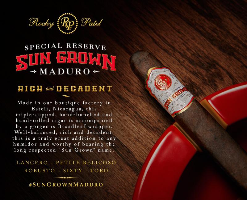 Rocky Patel Sun Grown Maduro cigar announcement