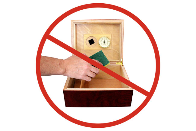 Do not wipe down humidor