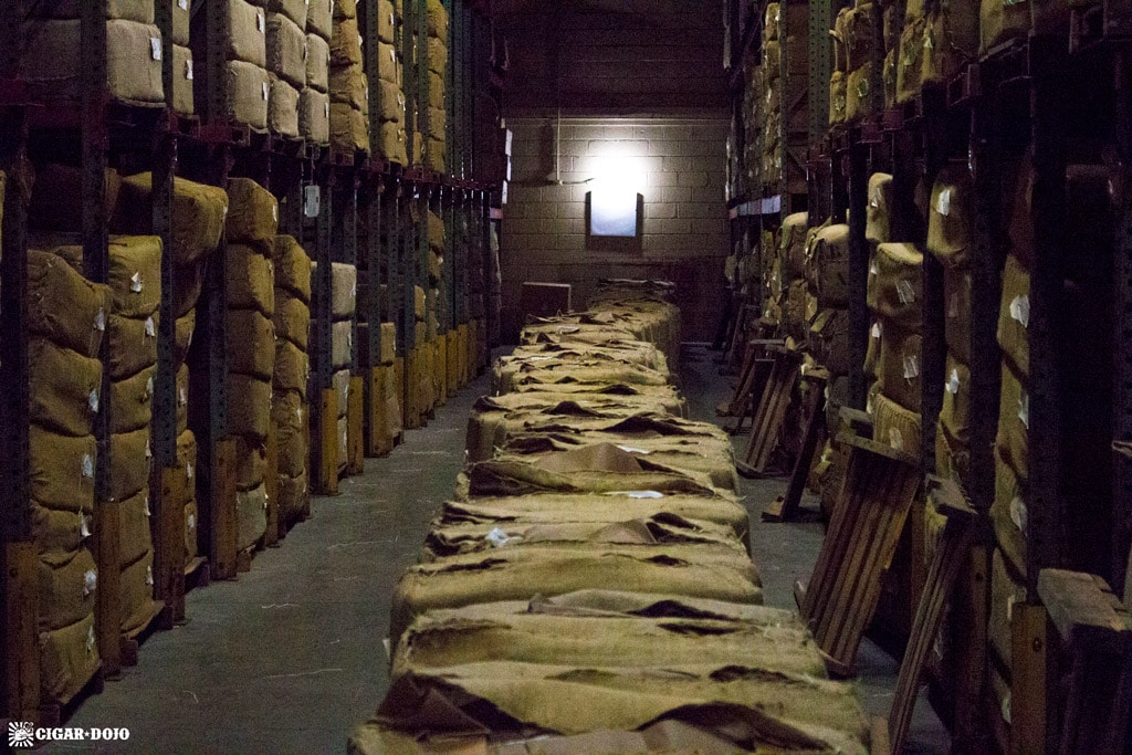 Tobacco bales in aging warehouse General Cigar Dominicana