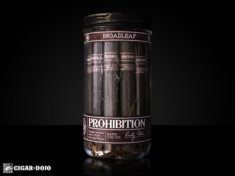 Rocky Patel Prohibition cigars Connecticut Broadleaf maduro jar