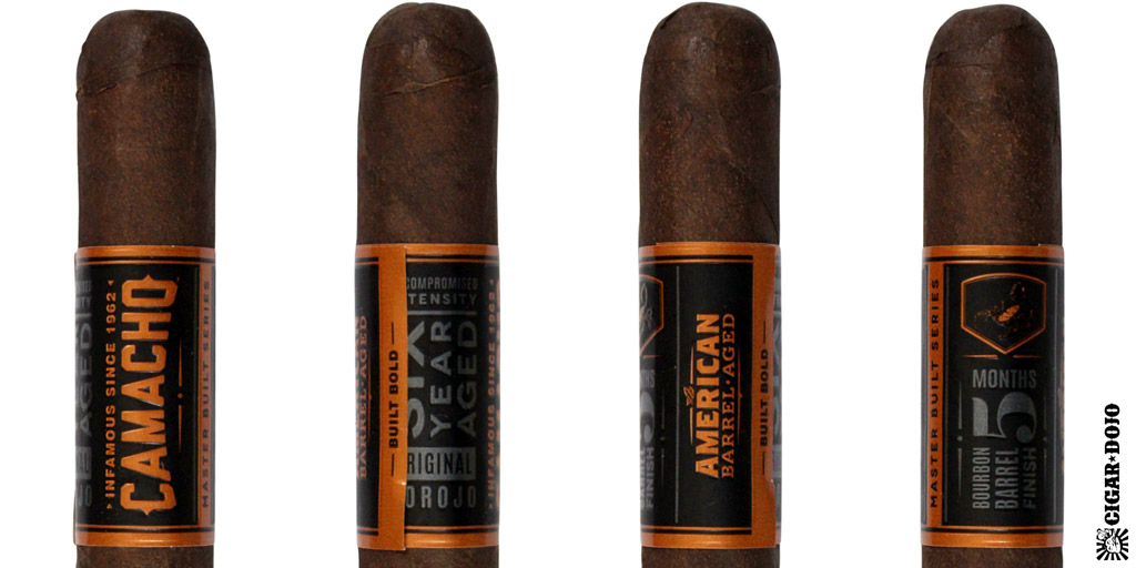 Camacho American Barrel-Aged cigar and cigar band full view