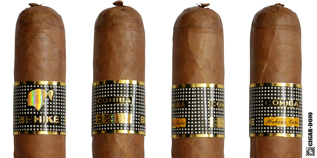 Cohiba Behike BHK cigar and cigar band full view