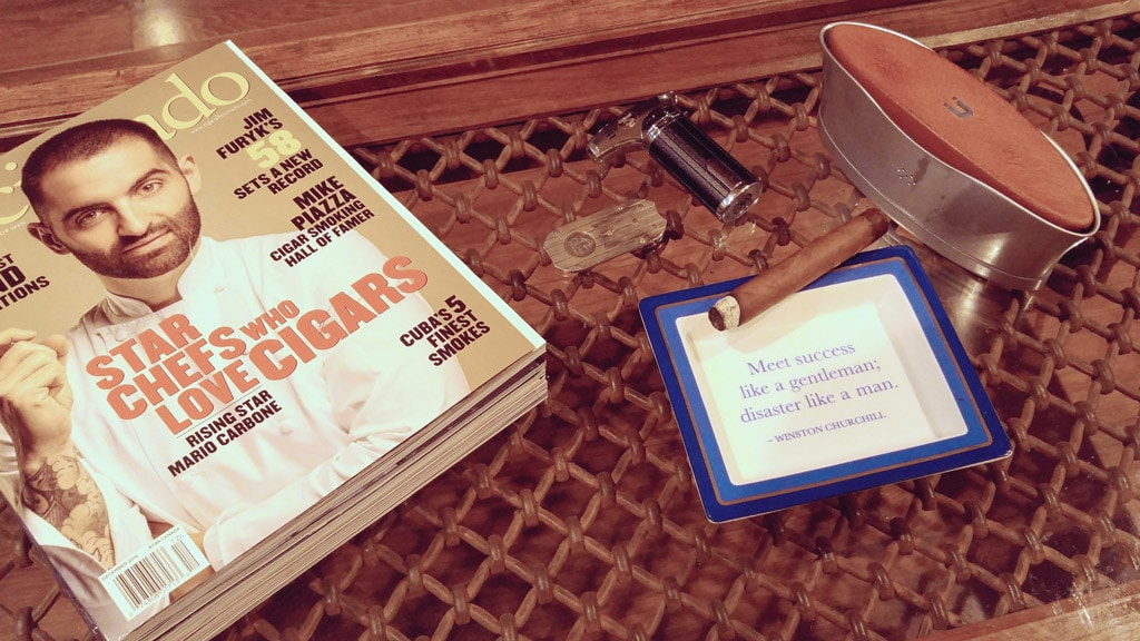 Home cigar lounge coffee table setup