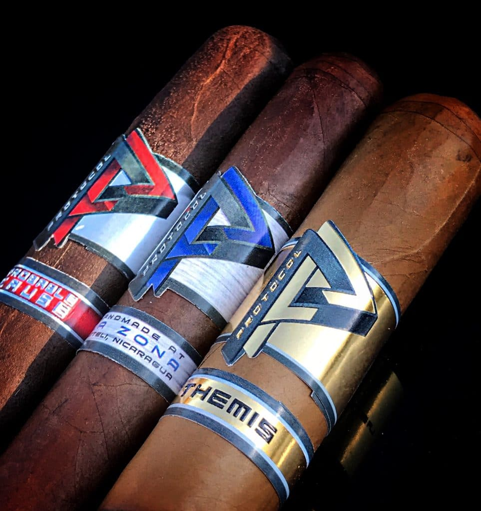 Cubariqueño Protocol cigars red, blue, gold