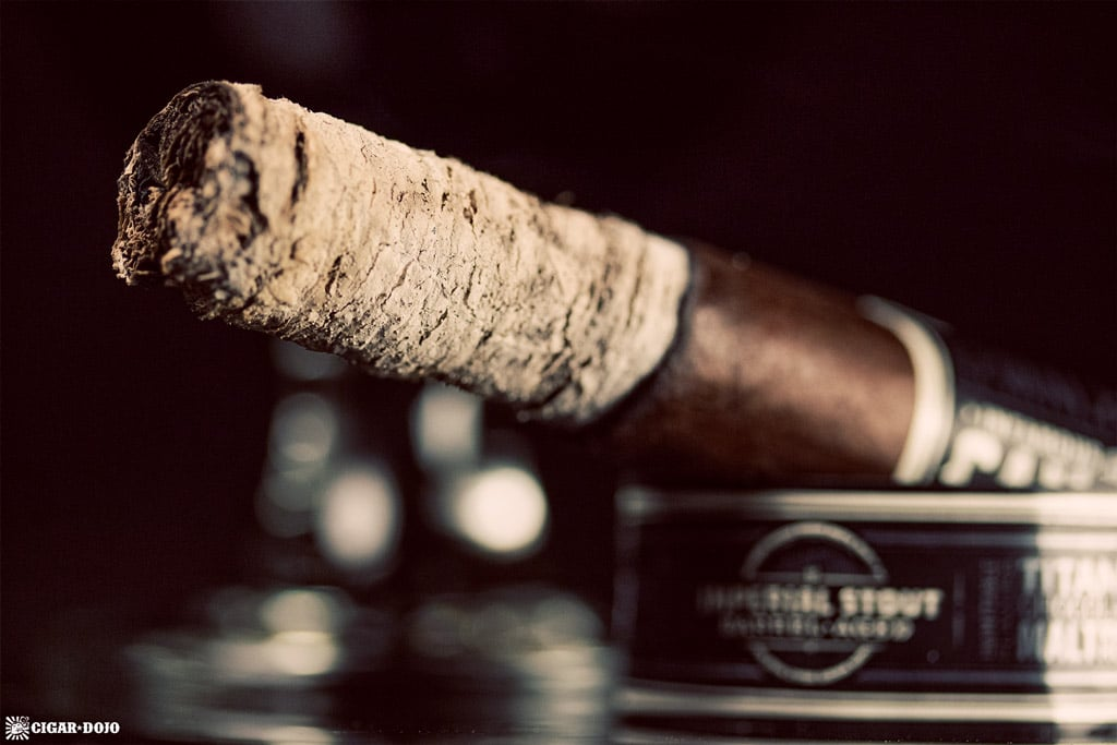 Cigar Dojo Camacho Imperial Stout Barrel-Aged cigar ash