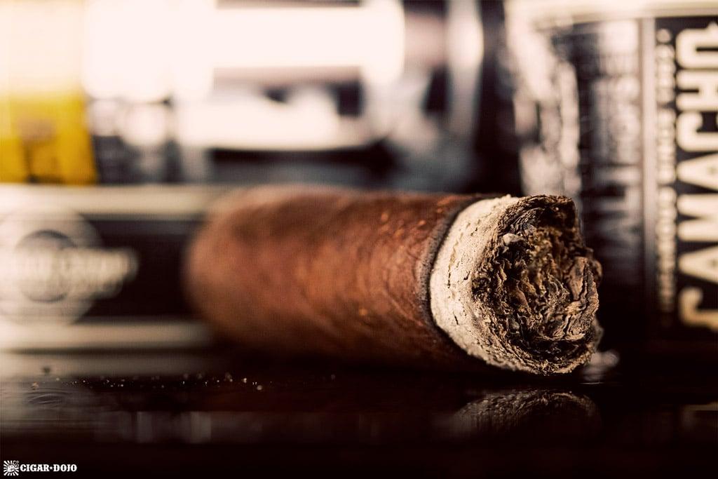 Cigar Dojo Camacho Imperial Stout Barrel-Aged cigar nub ash