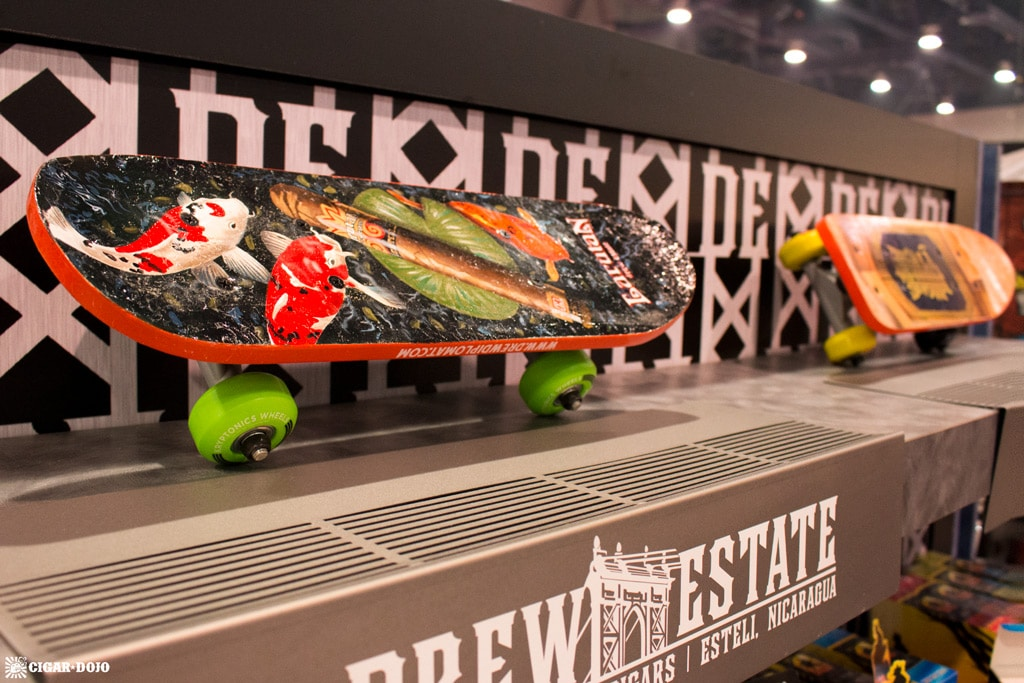 Drew Estate Subculture Studios painted skateboard IPCPR 2017