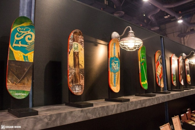 Drew Estate Subculture Studios painted skateboards IPCPR 2017