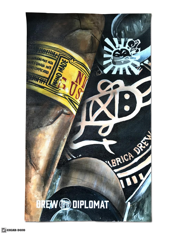 Drew Estate Subculture Studios Nica Rustica Cigar Dojo custom painted canvas