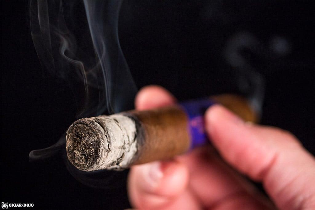Camacho Diploma Special Selection Robusto cigar ash