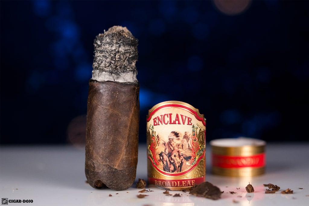 AJ Fernandez Enclave Broadleaf Robusto cigar nubbed