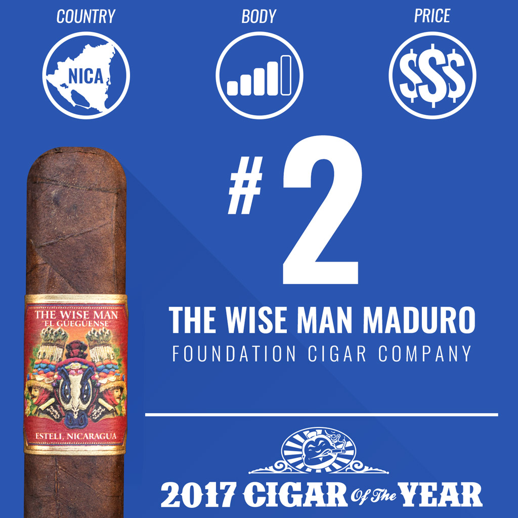 Foundation The Wise Man Maduro #2 Cigar of the Year Award 2017