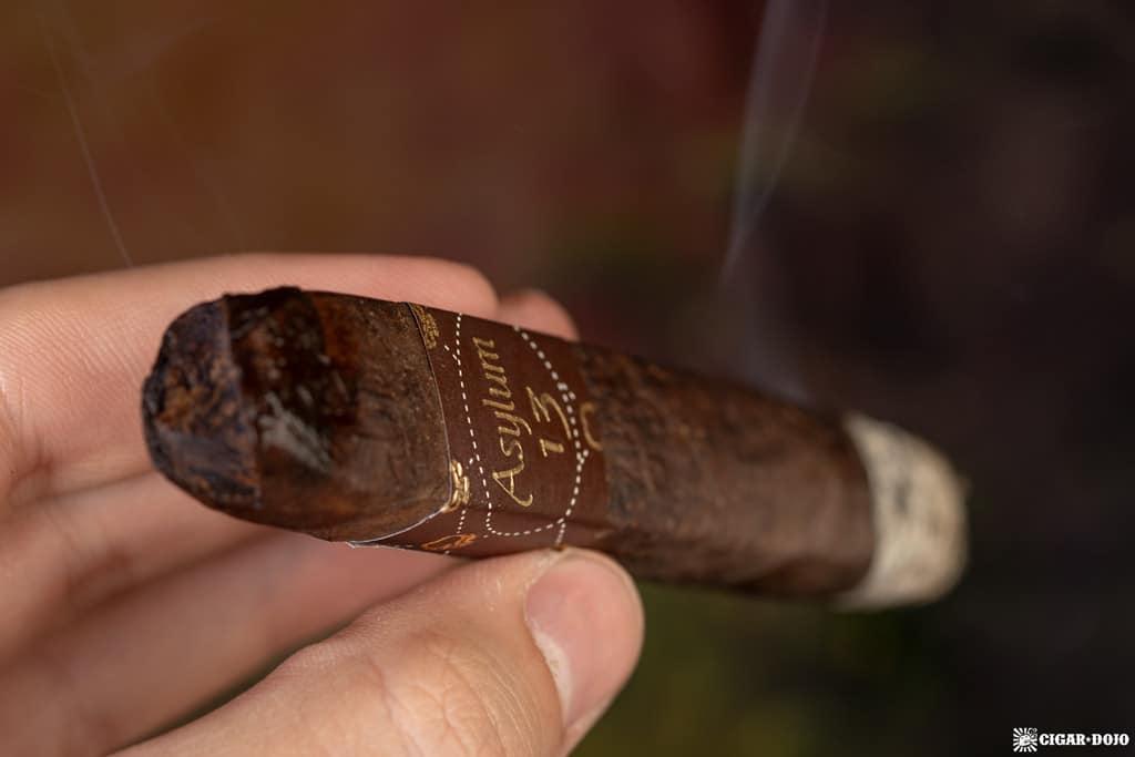 Asylum 13 Medulla Oblongata Maduro robusto cigar smoking