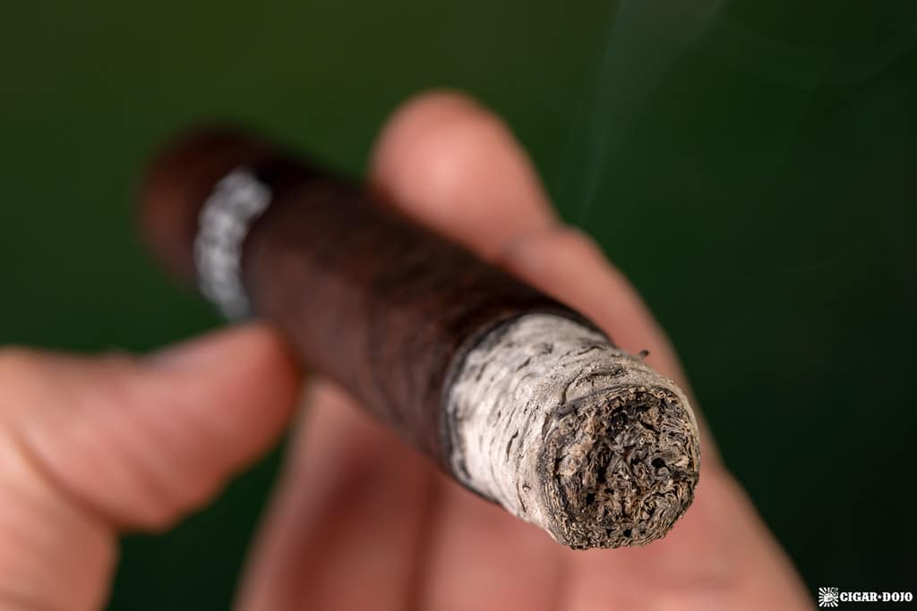 Factory Smokes Maduro by Drew Estate Toro cigar ash