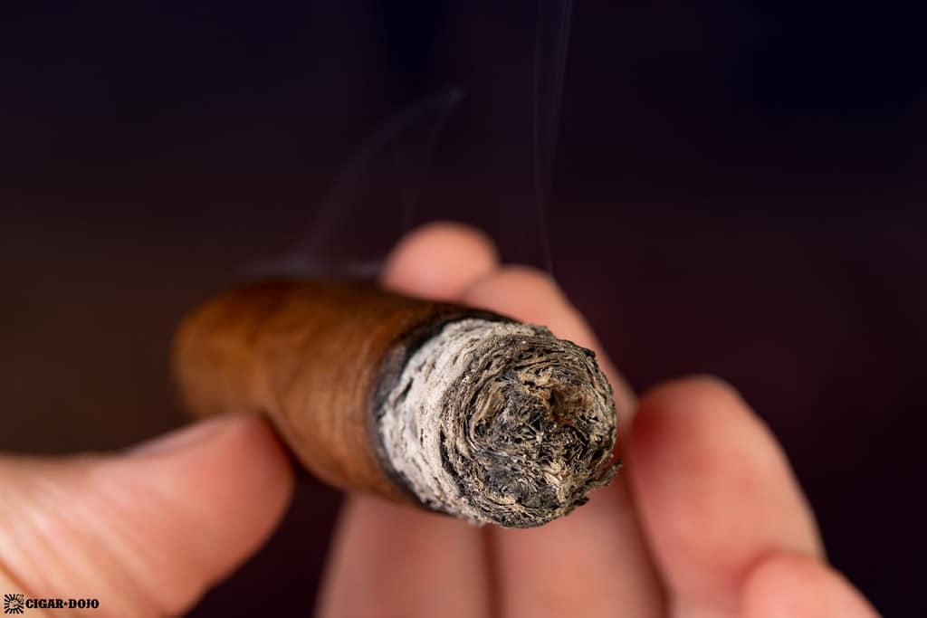 Pier 28 Oscuro Robusto cigar ash