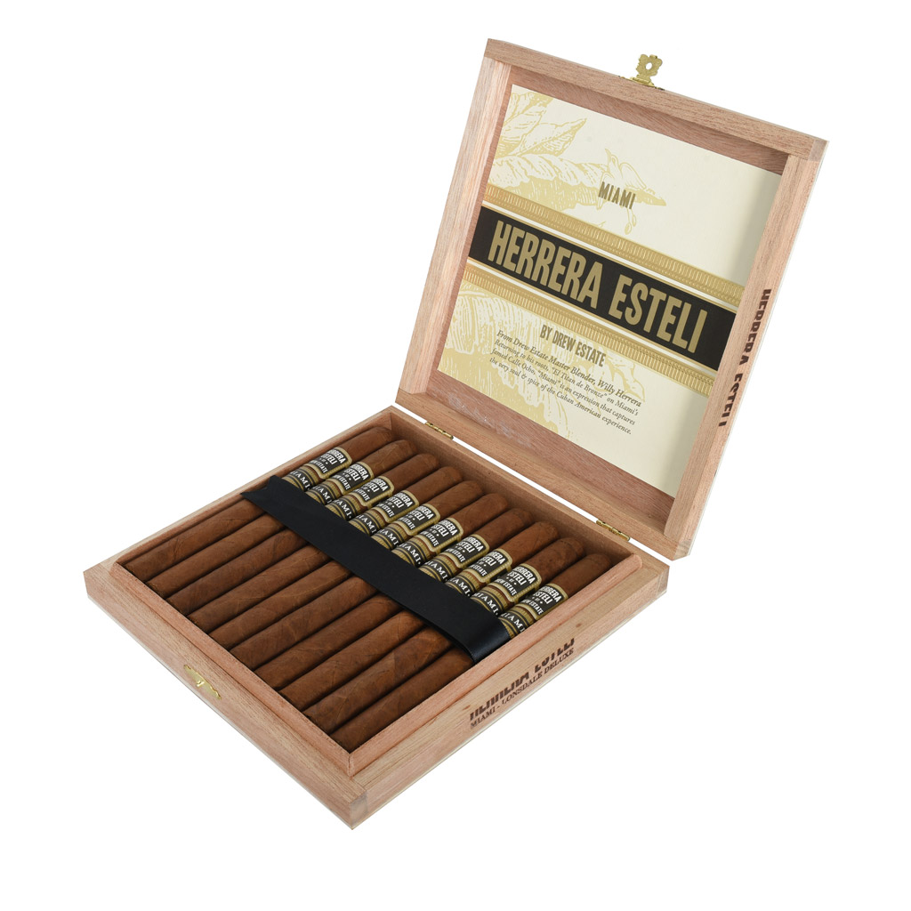 Herrera Estelí Miami Lonsdale Deluxe cigar box open
