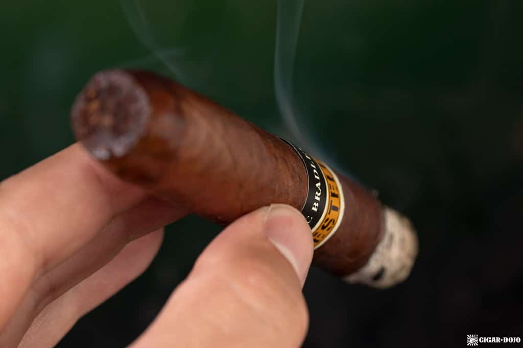 Alec Bradley Black Market Esteli Torpedo cigar smoking
