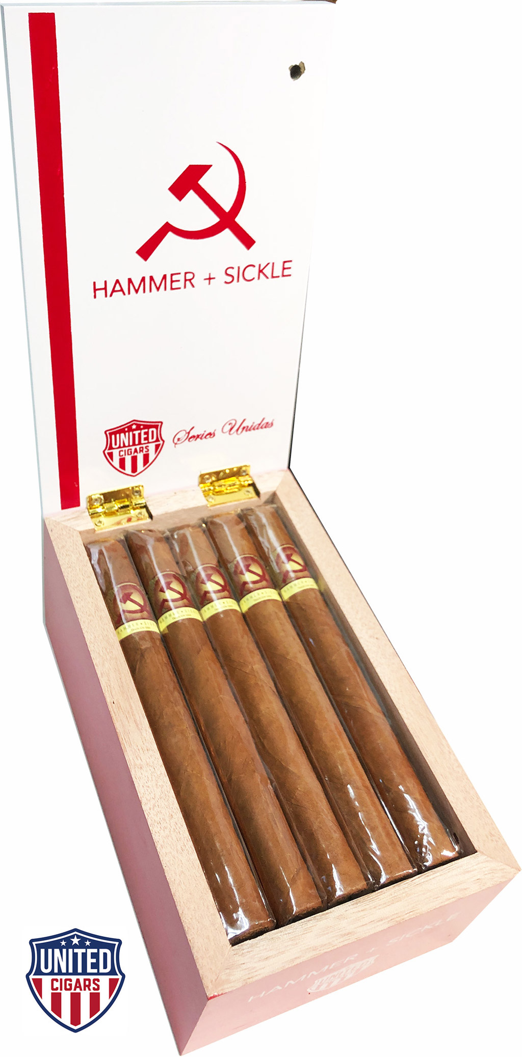 United Cigars Hammer + Sickle Series Unidas cigar box open