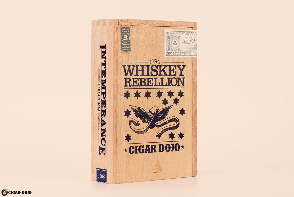 RoMa Craft Whiskey Rebellion 1794 Pennsatucky cigar box vertical