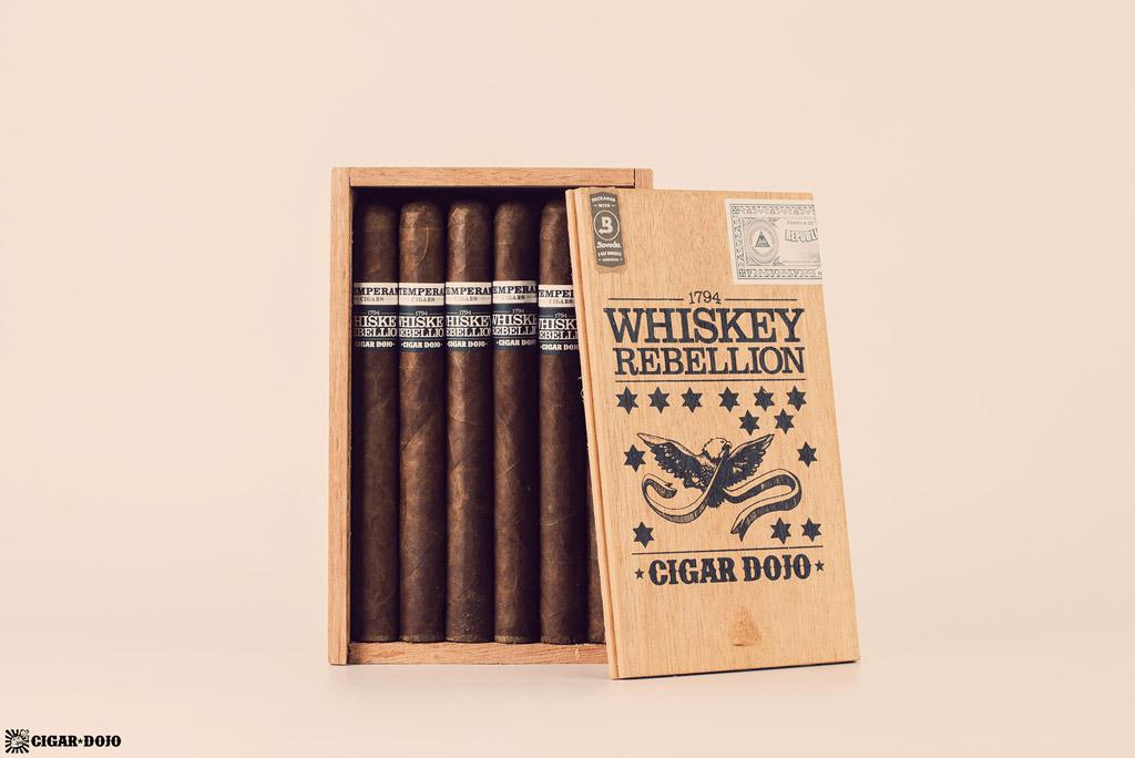 RoMa Craft Whiskey Rebellion 1794 Pennsatucky cigar box open vertical