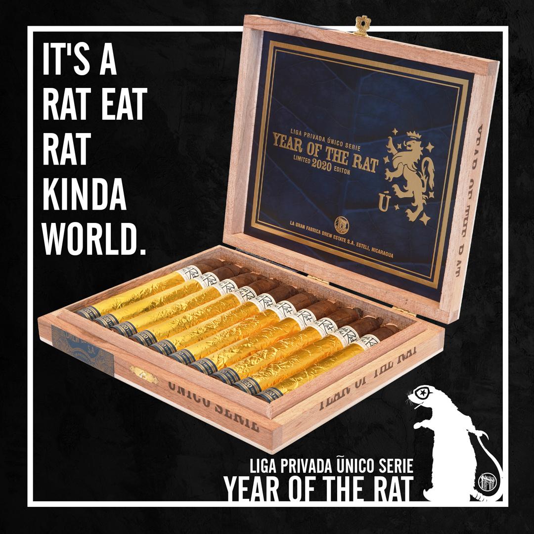 Drew Estate Liga Privada Único Serie Year of the Rat 2020 open cigar box