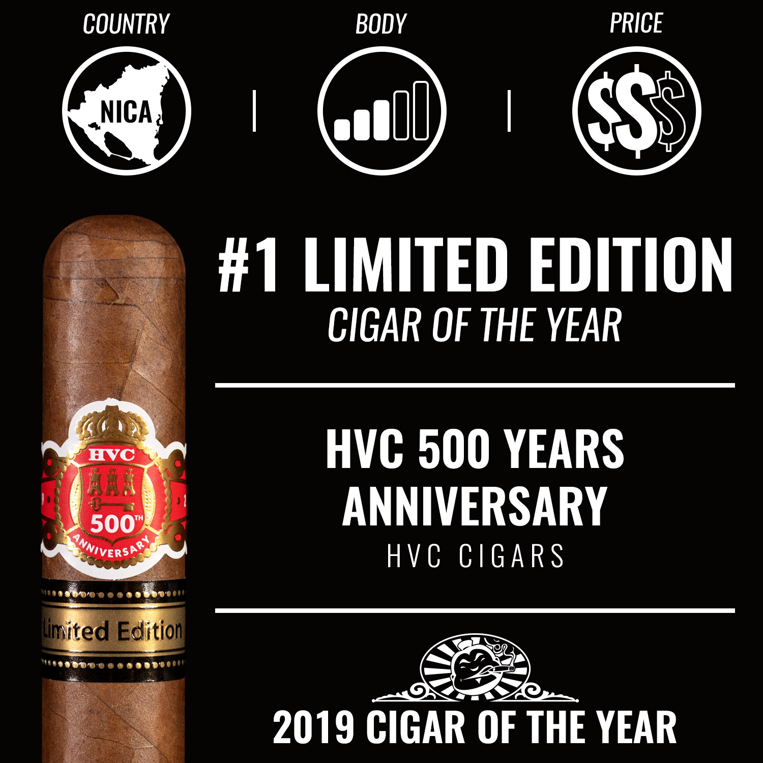 HVC 500 Years Anniversary No. 1 Limited Edition Cigar of the Year 2019
