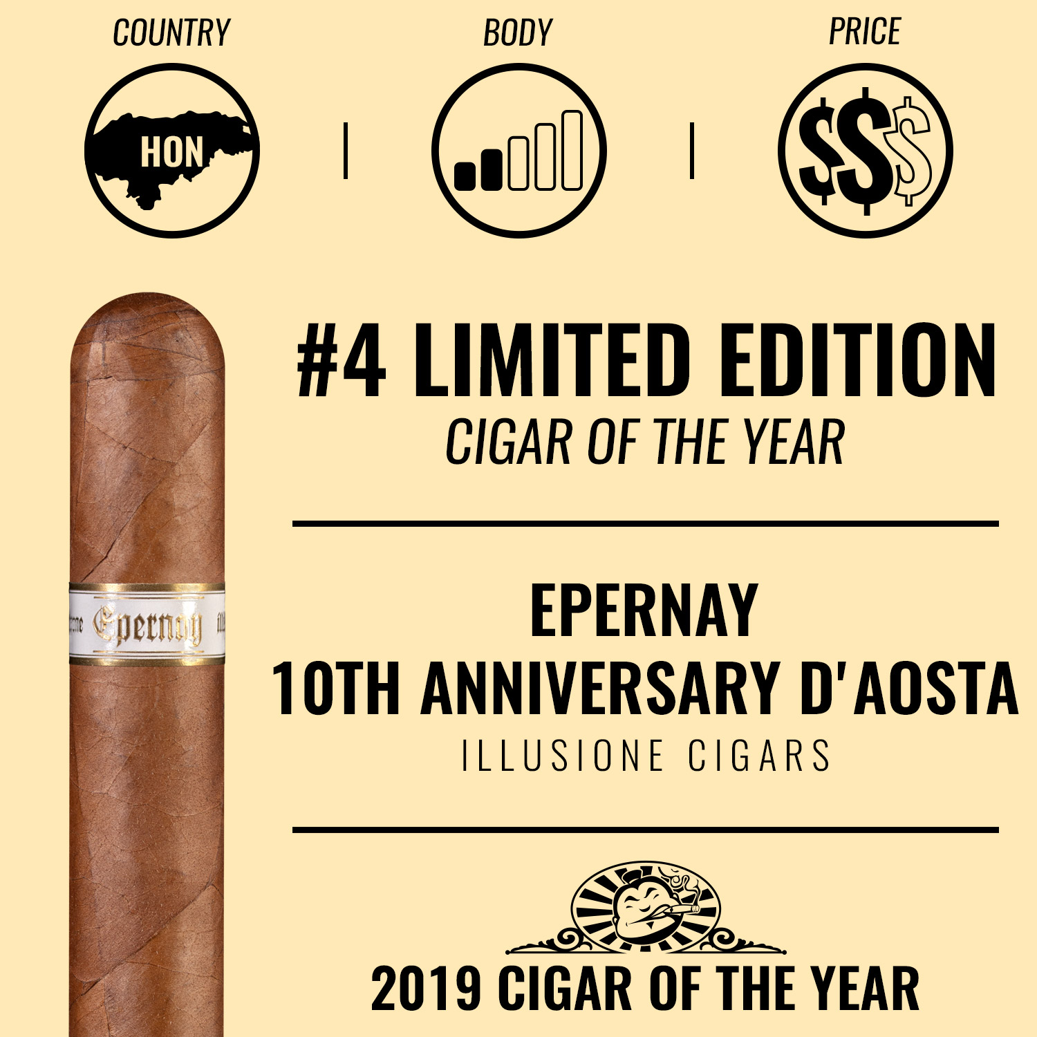 Illusione Epernay 10th Anniversary d'Aosta No. 4 Limited Edition Cigar of the Year 2019