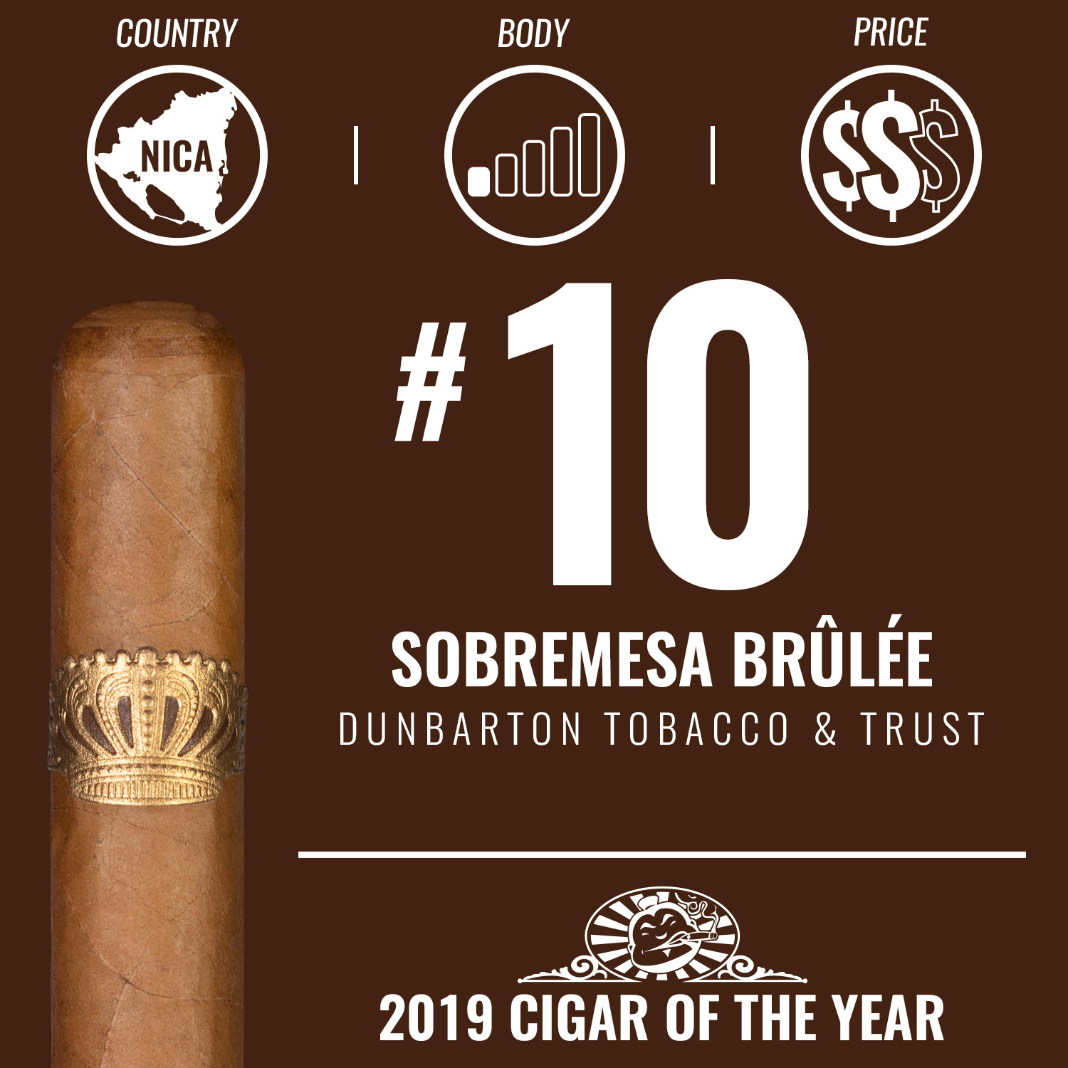 Dunbarton Sobremesa Brûlée No. 10 Cigar of the Year 2019