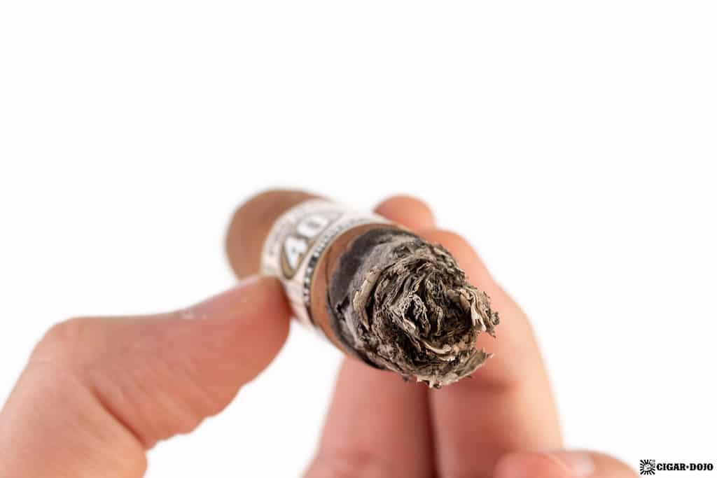 Alec Bradley Project 40 Robusto cigar ash
