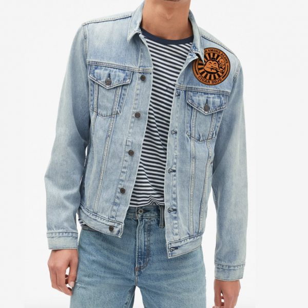 Cigar Dojo Leather Patch modeled denim jacket