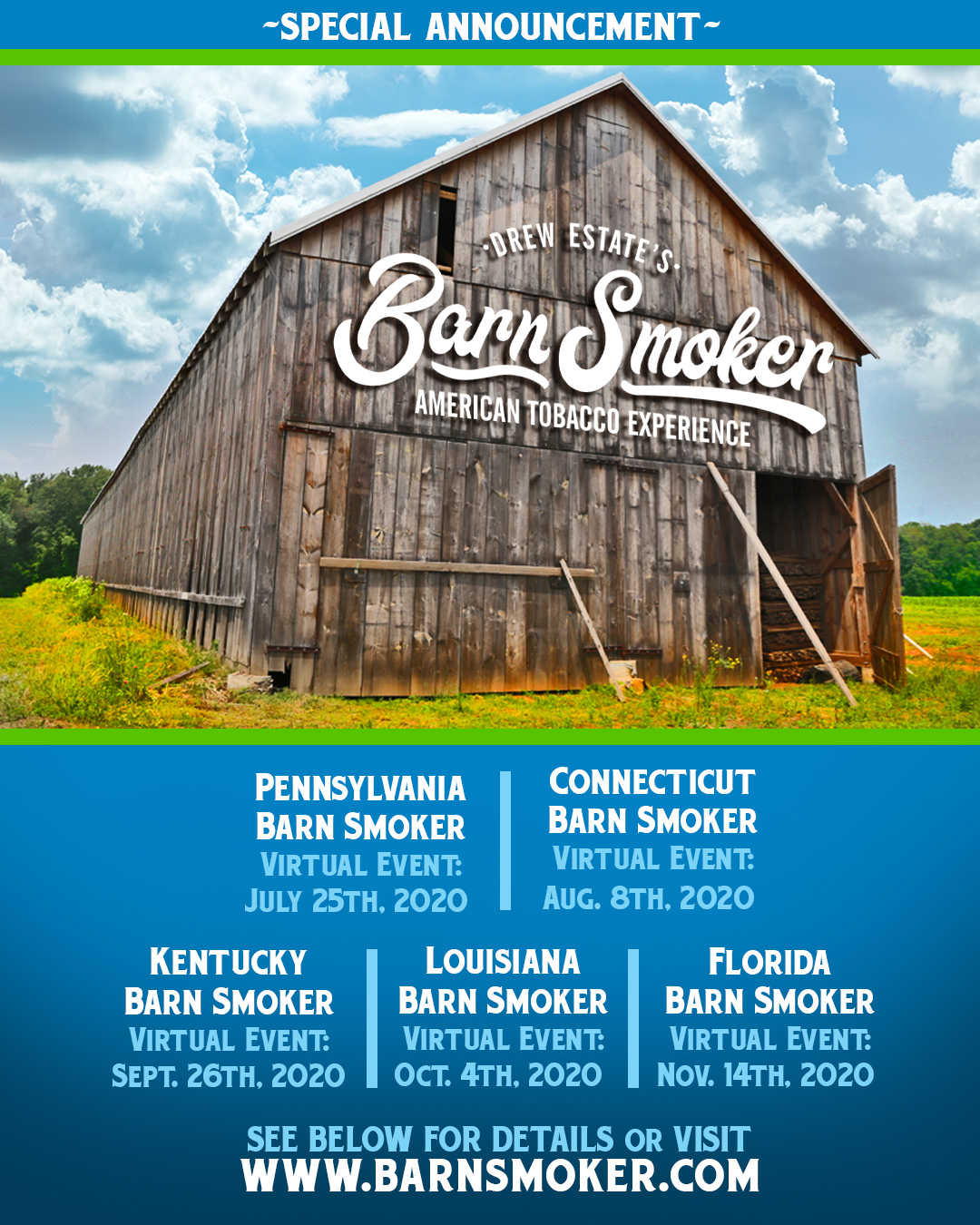 Drew Estate virtual Barn Smoker events 2020