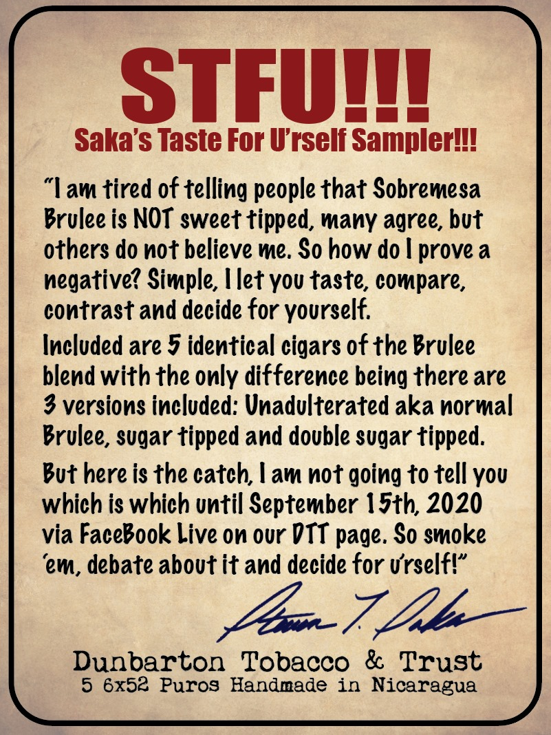 Dunbarton STFU!!! sampler pack label