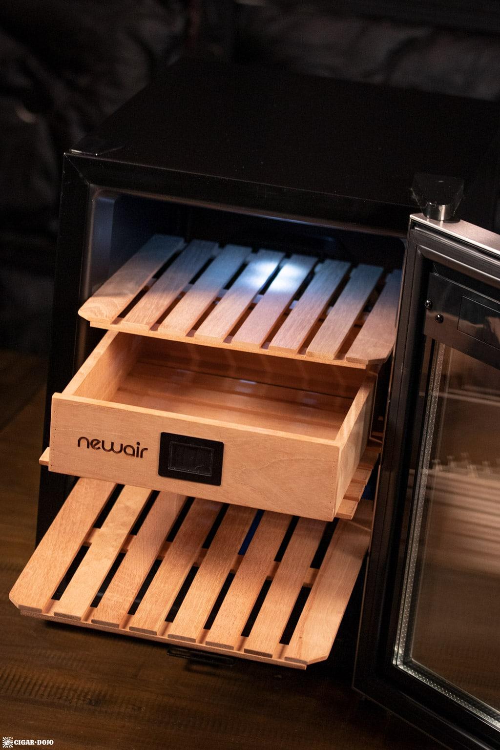 NewAir NCH250SS00 humidor open shelves