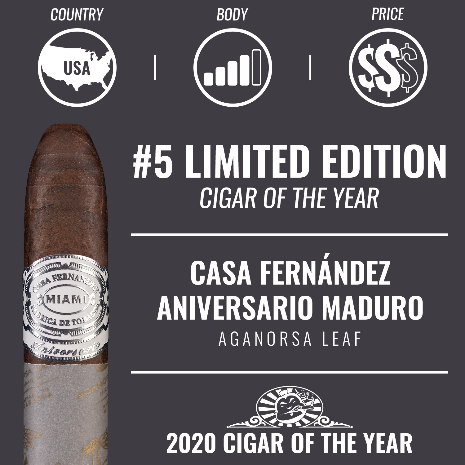 Casa Fernández Aniversario Cuban 109 Maduro No. 5 Limited Edition Cigar of the Year 2020
