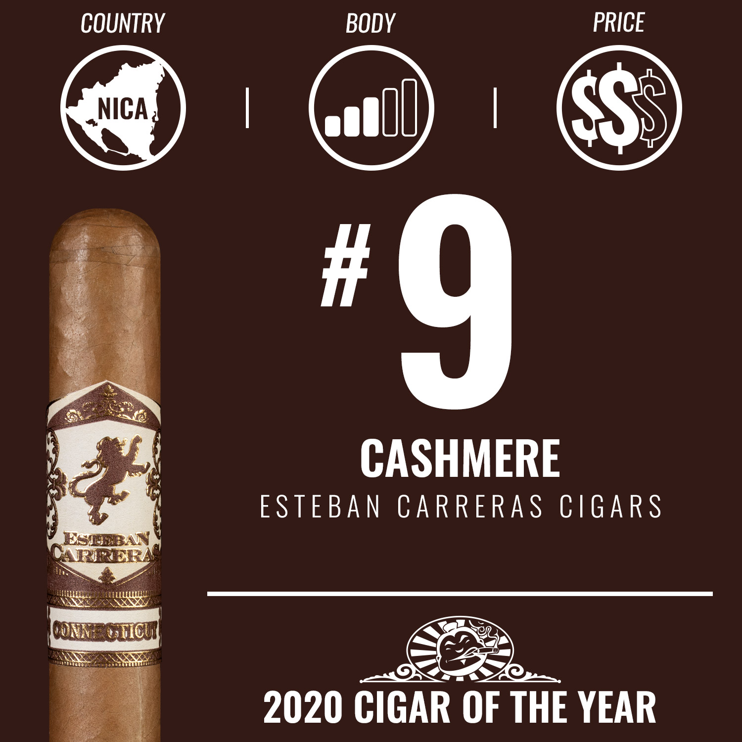 Esteban Carreras Cashmere No. 9 Cigar of the Year 2020