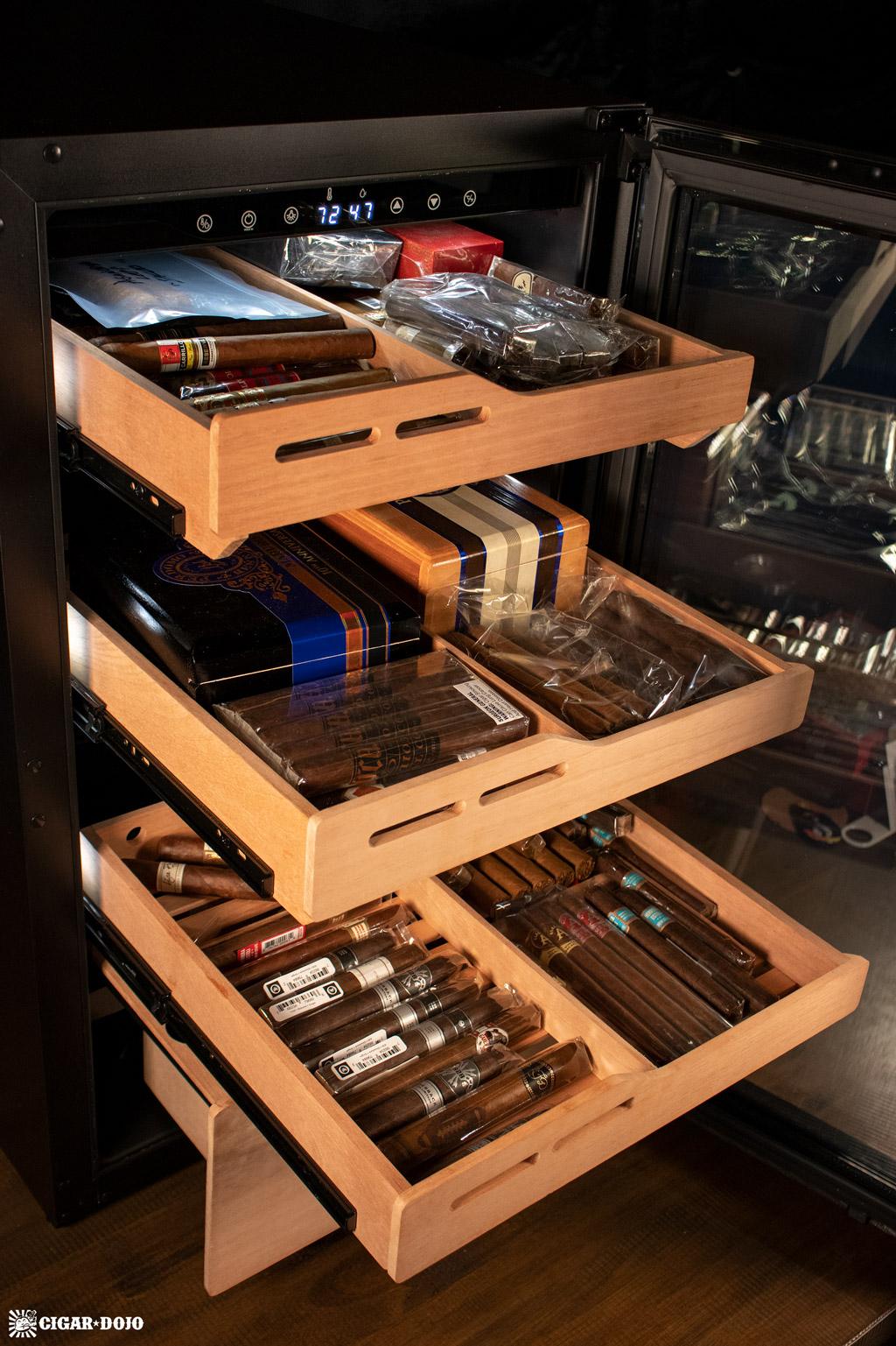 NewAir NCH840BK00 840 Count Humidor cedar shelves full