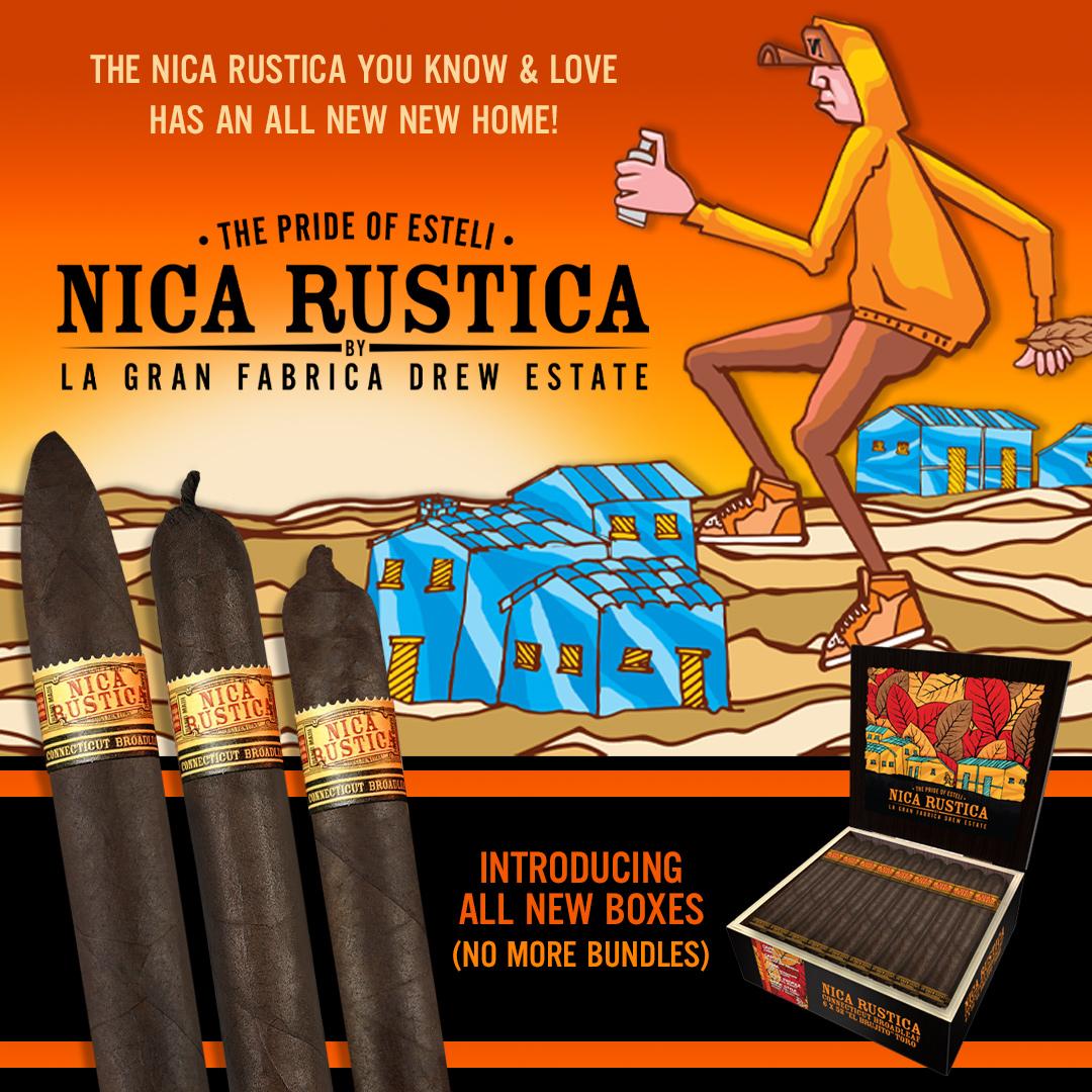 Drew Estate Nica Rustica Broadleaf 2021 brand refresh